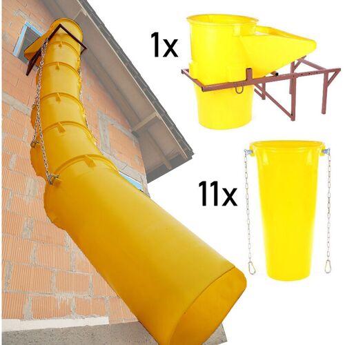 Topleiter - Schuttrutschen-Set gelb mit Trichter, Halterung und 11