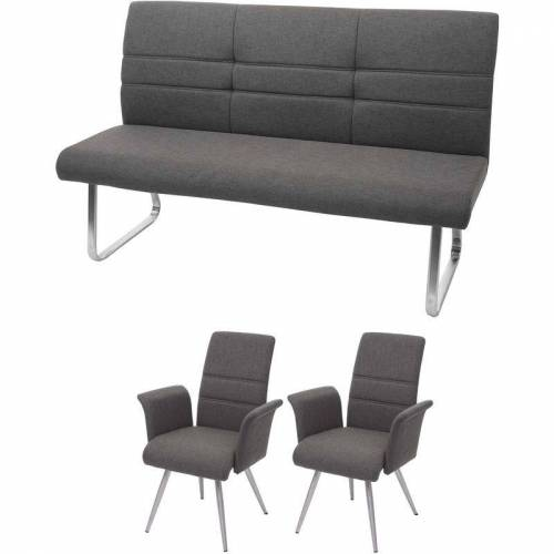 HHG Set 2x Esszimmerstuhl+Sitzbank 709, Bank Küchenstuhl Stuhl mit