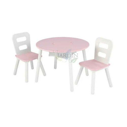 Suinga - Set runder Tisch und 2 Holzstühle. Farbe Pink und Weiß