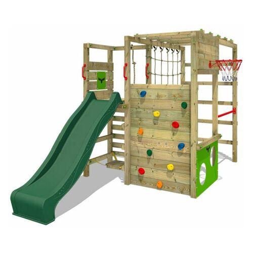 Fatmoose Klettergerüst Spielturm ActionArena mit grüner Rutsche,