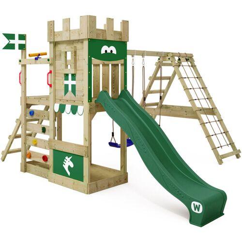 WICKEY Spielturm Ritterburg DragonFlyer mit Schaukel & grüner Rutsche,