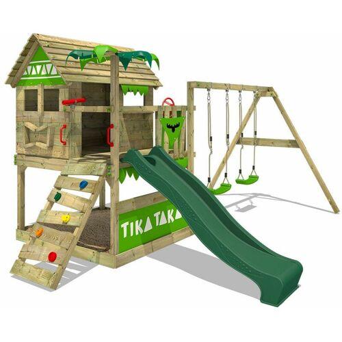 FATMOOSE Spielturm Klettergerüst TikaTaka mit Schaukel & grüner