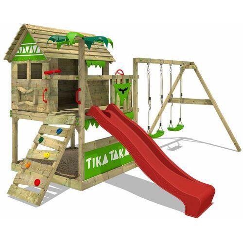 FATMOOSE Spielturm Klettergerüst TikaTaka mit Schaukel & roter Rutsche,