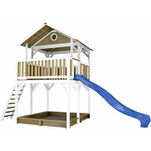 AXI Spielturm WOODY, Rutsche, Sandkasten, Stelzenhaus braun/weiß - Rutsche