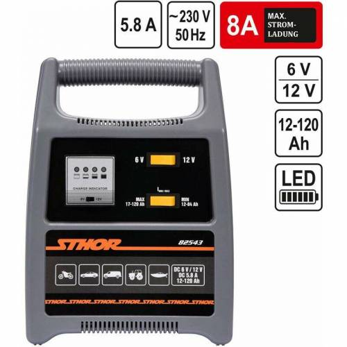 Sthor 6V/12V Batterieladegerät Automatik Batterielader 8A 120Ah