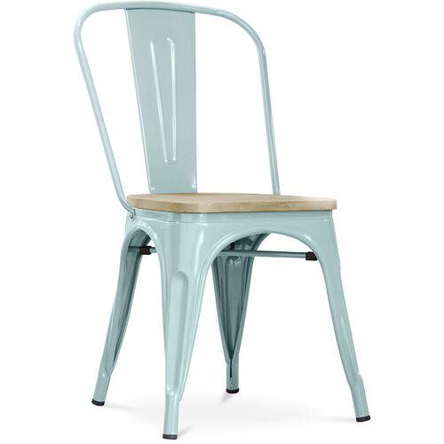 PRIVATEFLOOR Style Tolix Stuhl - Metall und helles Holz Blasses Grün