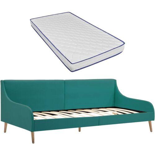Zqyrlar - Tagesbett-Gestell mit Memory-Schaum-Matratze Grün Stoff