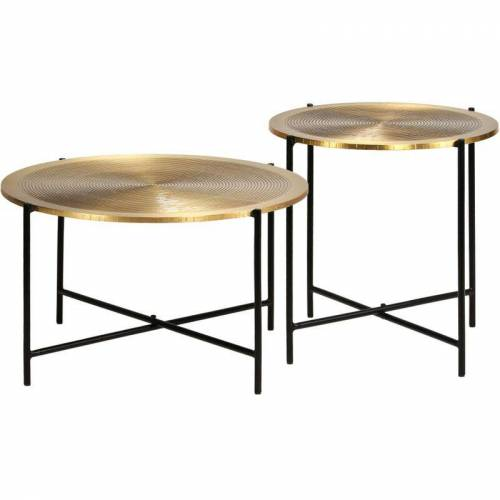Asupermall - Tisch-Set 2-tlg. MDF mit Messingbeschichtung