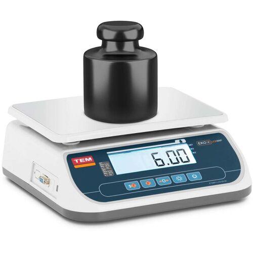 TEM - Tischwaage 6 kg/2 g geeicht Marktwaage Ladenwaage LCD Akku 100 h