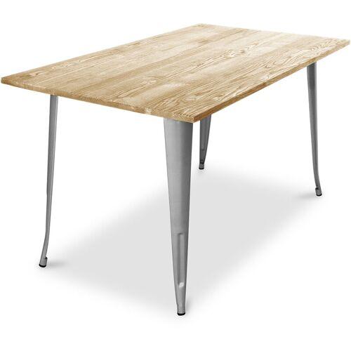 Privatefloor - Tolix Style Esstisch - 140 cm - Helles Holz Steel