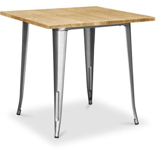 PRIVATEFLOOR Tolix Style Esstisch - 80 cm - Helles Holz Steel
