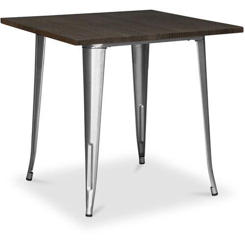 PRIVATEFLOOR Style Tolix Esstisch - 80 cm - Dunkles Holz Steel