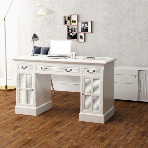 Topdeal Schreibtisch Sekretär Weiß 140 x 48 x 80 cm 10481