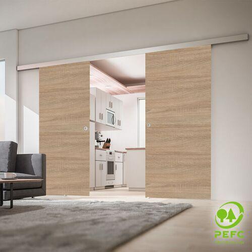 inova Star Tür doppelflügelige doppel Schiebetür Wildeiche 1510x2035 Holztür