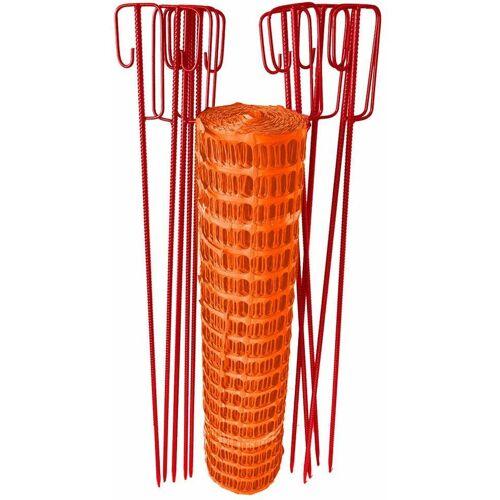 UvV Fangzaun Set Orange 50m 7,5kg +10 Halter Baustellen Absperrzaun