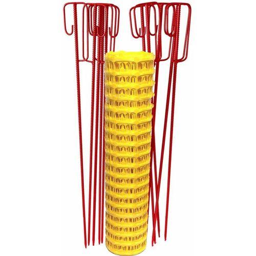 UvV Set Fangzaun gelb 50 m + 10 Absperrleinenhalter rot Bauzaun