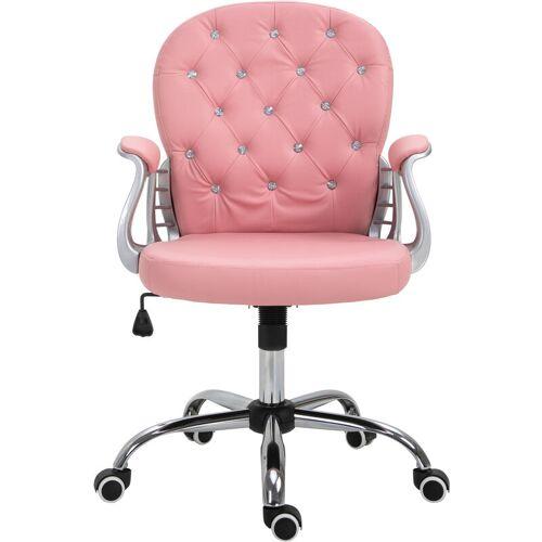 Vinsetto ® Drehstuhl Chefsessel 59,5 x 60,5 x 95-105 cm Rosa Grau - rosa