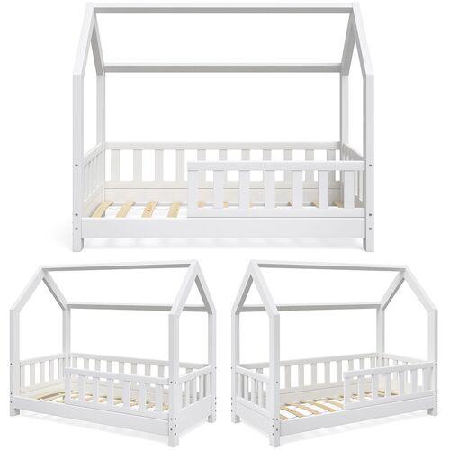VITALISPA Hausbett WIKI 70x140 Zaun Weiß Kinderbett Kinderhaus Kinder