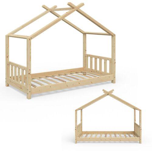 VITALISPA Kinderbett Hausbett DESIGN 80x160 Zaun Kinder Holz Haus