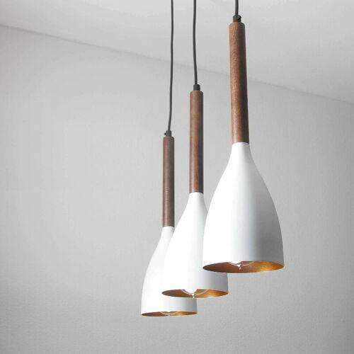 LICHT-ERLEBNISSE Weiße Hängelampe im Retro Design mit Holz E27 Esstisch