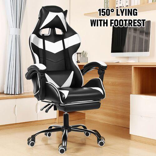 Kingso - Weißer Bürostuhl Stuhl Gamer Gaming Drehbarer Rennstuhl 150 °