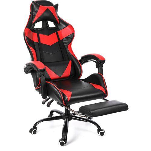 Kingso - Roter Bürostuhl Stuhl Gaming Gaming Stuhl Drehrennsport 150 °