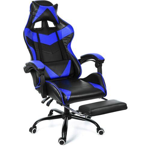 Kingso - Blauer Bürostuhl Stuhl Gaming Swivel Racing Gaming Stuhl 150 °