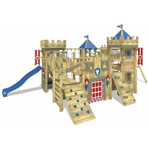 WICKEY Spielturm Ritterburg The Golden Goat mit Schaukel & blauer Rutsche,