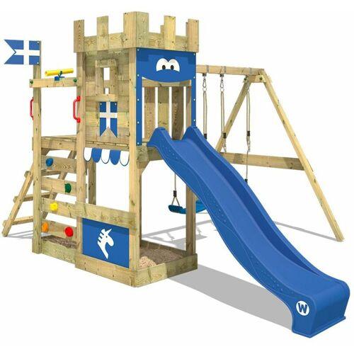WICKEY Spielturm Ritterburg RoyalFlyer mit Schaukel & blauer Rutsche,