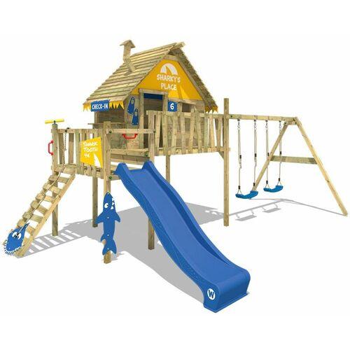 WICKEY Spielturm Klettergerüst Smart Bay mit Schaukel & blauer Rutsche,