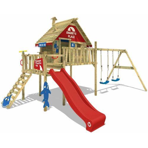 WICKEY Spielturm Klettergerüst Smart Bay mit Schaukel & roter Rutsche,