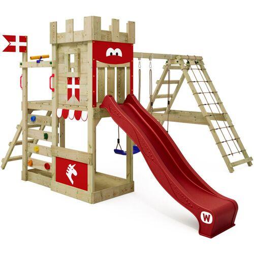 WICKEY Spielturm Ritterburg DragonFlyer mit Schaukel & roter Rutsche,