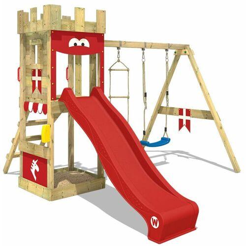 WICKEY Spielturm Ritterburg KnightFlyer mit Schaukel & roter Rutsche,