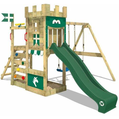 WICKEY Spielturm Ritterburg RoyalFlyer mit Schaukel & grüner Rutsche,