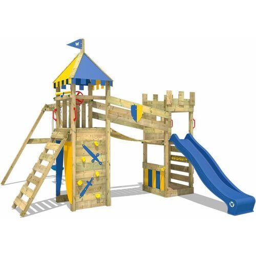 WICKEY Spielturm Ritterburg Smart Fort mit Schaukel & blauer Rutsche,