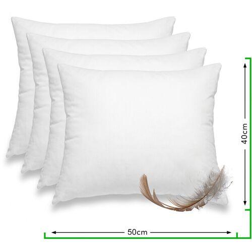 WOMETO 4er Set Federkissen 100% Federn 40x50 cm - 500g OekoTex Kissen