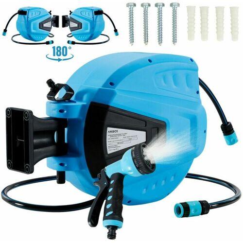AREBOS Gartenschlauchaufroller Gartenschlauch Wasserschlauch Schlauch Blau 30