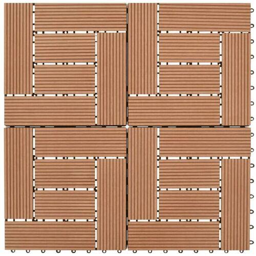 ASUPERMALL Braune Terrassenfliesen 11 Stk. 30 x 30 cm WPC 1 qm