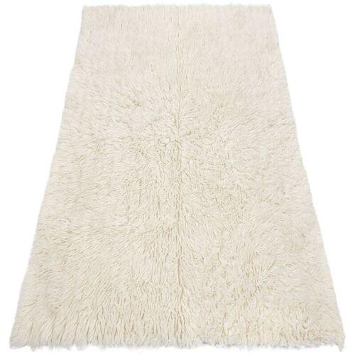 Rugsx - Flokati WOLLE - Bettdecke, Plaid Weiß 55x110 cm