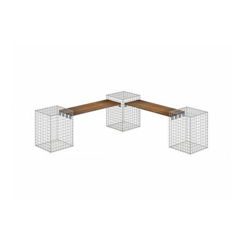 Gabiona - Gartenbank 3 Gabionen TEAK MW 5x5 - Teak Holz