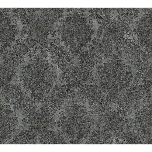 PROFHOME Grafik Tapete 336078-GU Vliestapete glatt im Barock-Stil matt grau