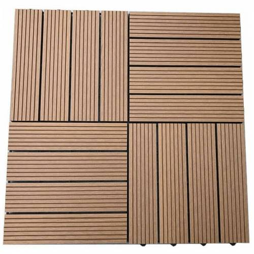HOME DELUXE WPC Holzfliesen Teak I Klickfliesen, Balkonfliese, Terrassenfliese,