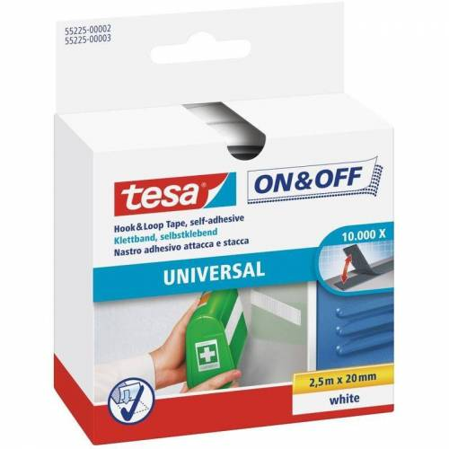 TESA Klettband On & Off 20 mm x 2,5 m, weiß - Tesa