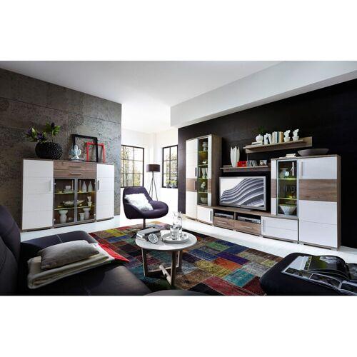 Lomadox - Wohnzimmer Set mit Wohnwand & Highboard JASON-36 weiß