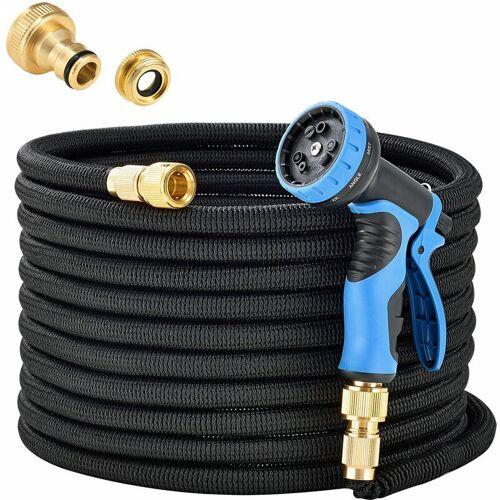 JUSKYS Flexibler Gartenschlauch Aqua Pro mit Brause   30 m   Adapter 1/2 Zoll