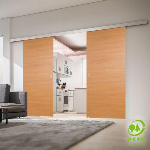inova Star Tür doppelflügelige Schiebetür Holz Buche 1760x2035 Doppel Holztür