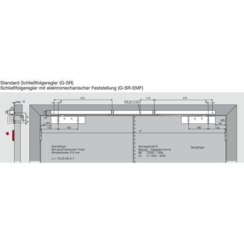DORMAKABA Türschließer TS 93B GSR-EMF2-V   Größe EN 2-5 , 2 Flügel   mit