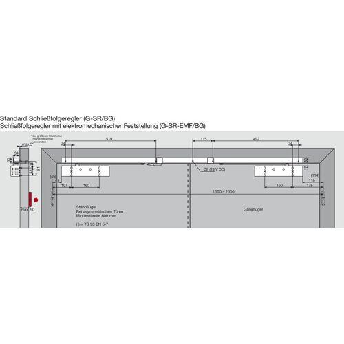 DORMAKABA Türschließer TS 93G GSR/EMF2-BG-V   Größe EN 2-5 , 2 Flügel   mit