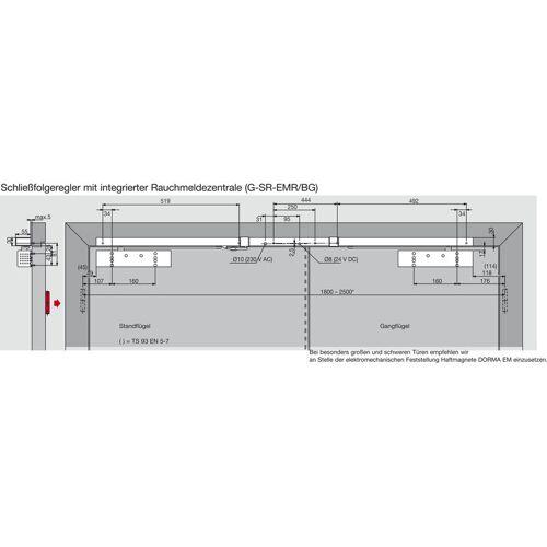 DORMAKABA Türschließer TS 93G GSR/EMR2-BG-V   Größe EN 2-5 , 2 Flügel   mit