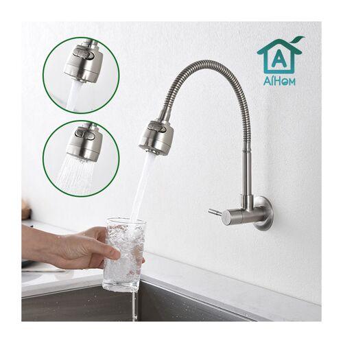 AIHOM Wasserhahn Küche Kaltwasserhahn Küchenarmatur 304 Edelstahl 360 °
